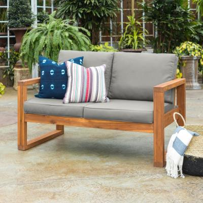 Brown Acacia Wood Outdoor Loveseat with Grey Cushions