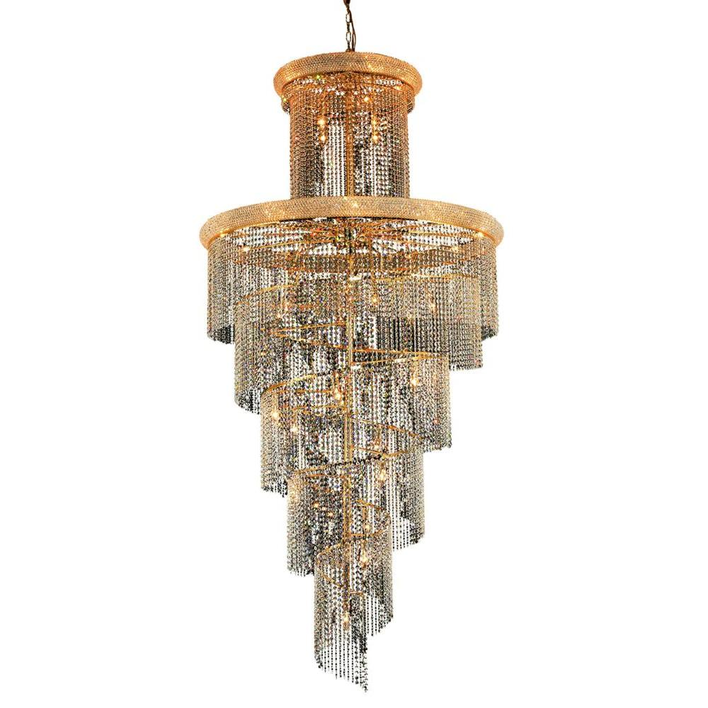 41-Light Gold Chandeliers with Clear Crystal
