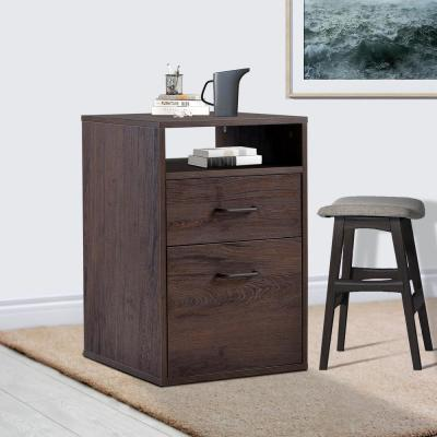 Brown MDF Vertical Filing Cabinet with 2-Drawers