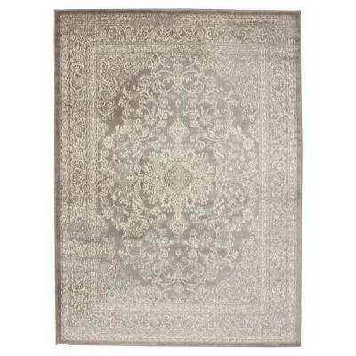 Jasmin Collection Oriental Medallion Design Gray and Ivory 8 ft. x 10 ft. Area Rug
