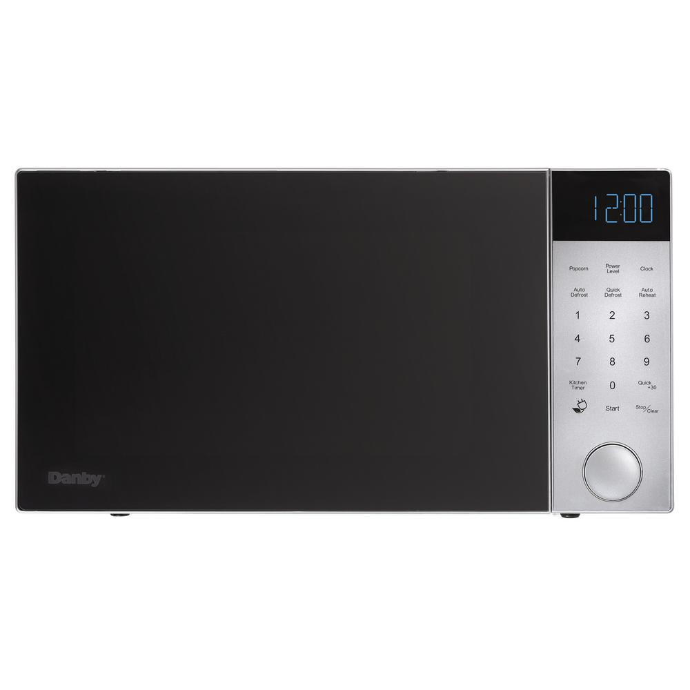 Countertop Microwave In Brushed Silver With Black Front