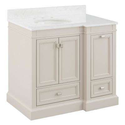 Braylee 37 in. W x 24 in. D Vanity Cabinet in Rainy Day with Engineered Stone Vanity Top in White with White Basin