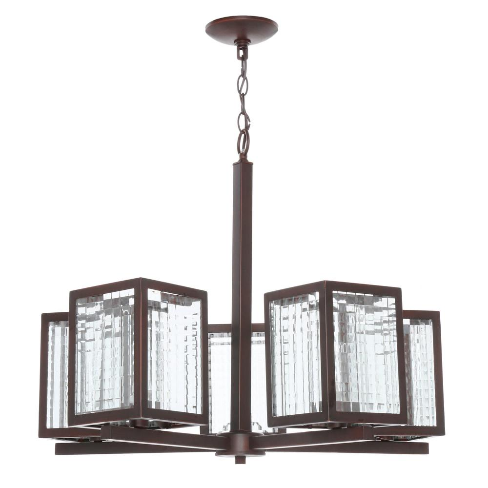 Home Decorators Collection 5 Light Oil Rubbed Bronze Chandelier With Etched Clear Glass Shades
