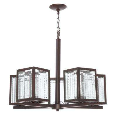 5-Light Oil Rubbed Bronze Chandelier with Etched Clear Glass Shades
