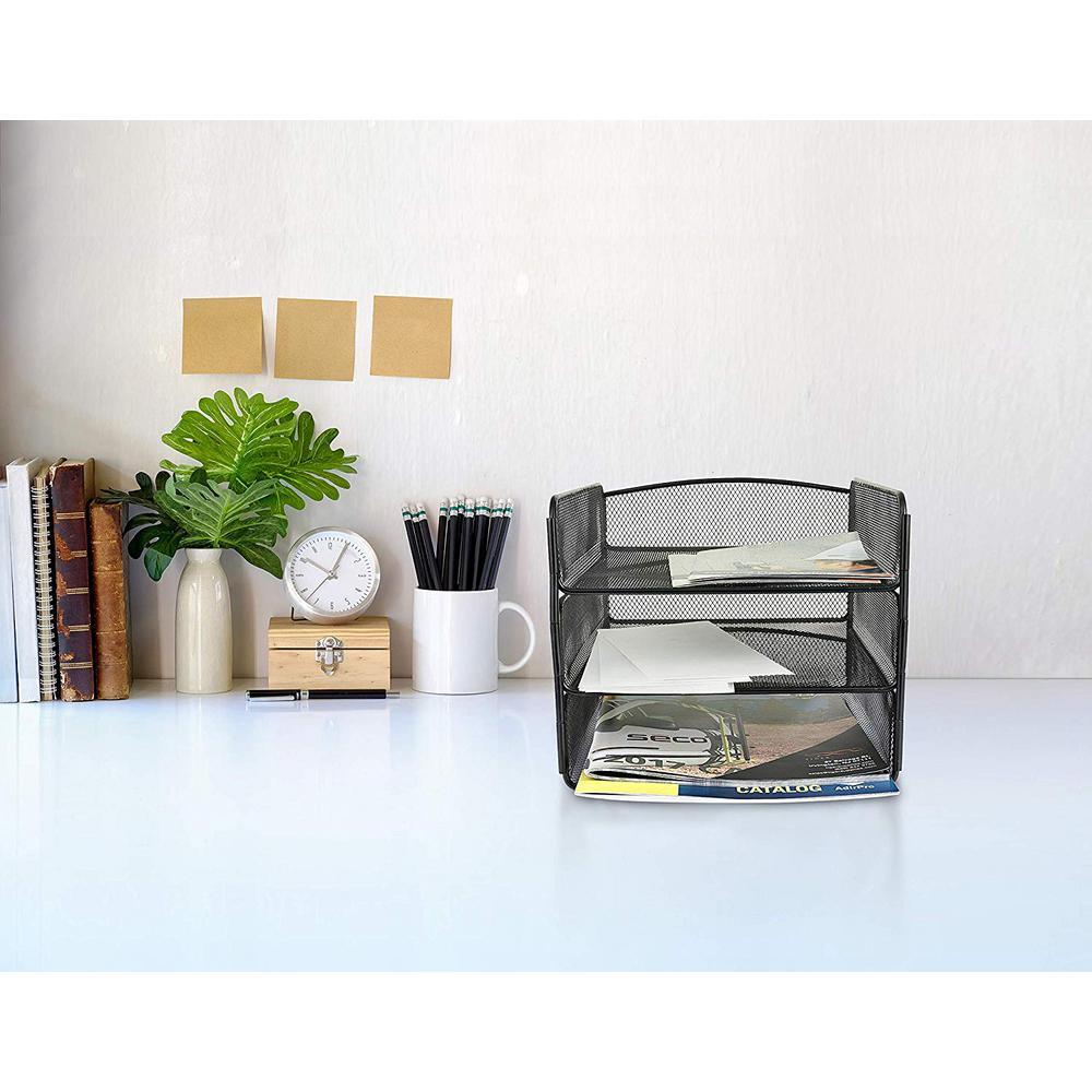 AdirOffice 3-Tier Black Steel Mesh Paper Tray Desktop Organizer