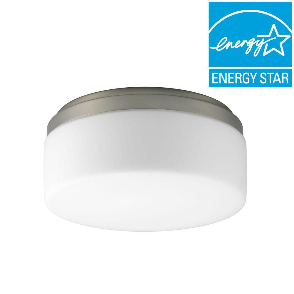 Maier Collection 1-Light Brushed Nickel Flushmount with Opal Etched Glass