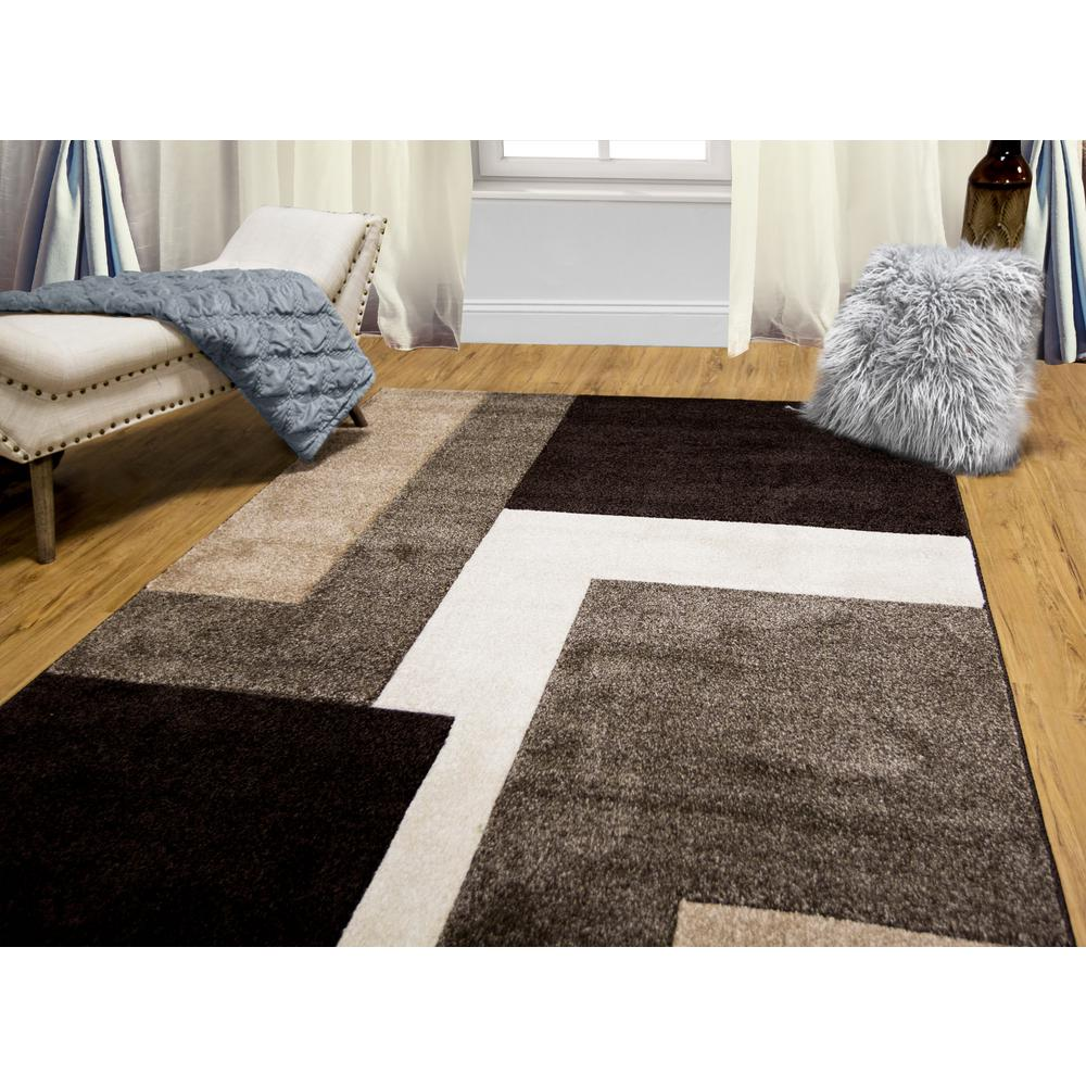 Beau Home Dynamix Bazaar Zag Dark Brown 5 Ft. X 7 Ft. Indoor Area Rug