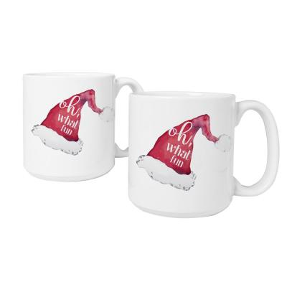 Oh What Fun Santa Hat 3.9 in. x 4.1 in. White Ceramic Christmas Coffee Mugs