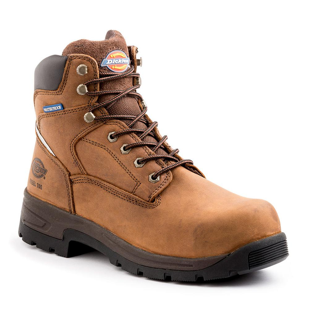 c521e45c28a Dickies Stryker Men Size 10.5 Brown Leather Steel Toe Work Boot