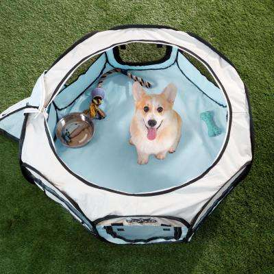 33 in. x 33 in. Portable Pop Up Pet Play Pen with Carrying Bag in Blue