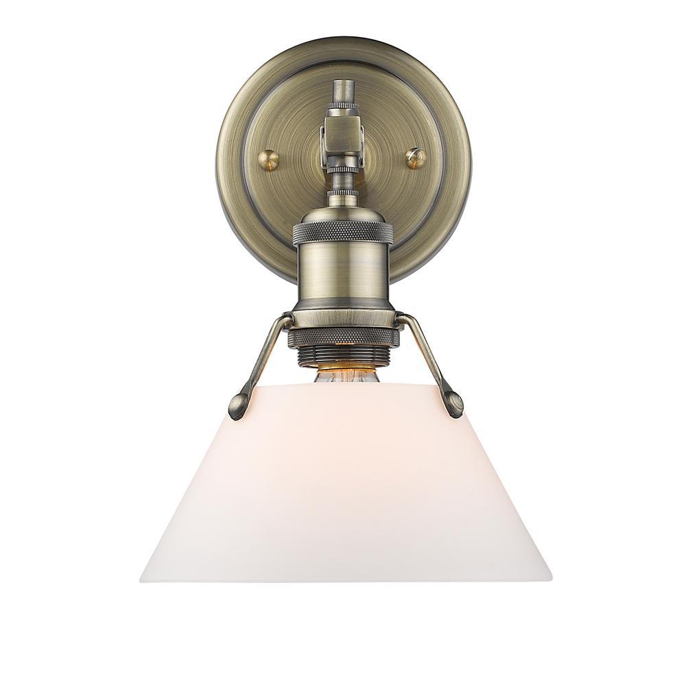 Orwell AB 1-Light Aged Brass Bath Light with Opal Glass Shade