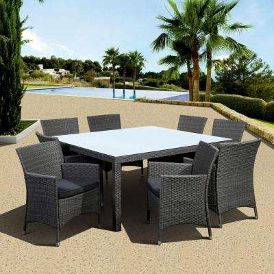 Grand New Liberty Deluxe Gray 9-Piece Square All-Weather Wicker Patio Dining Set with Gray Cushion