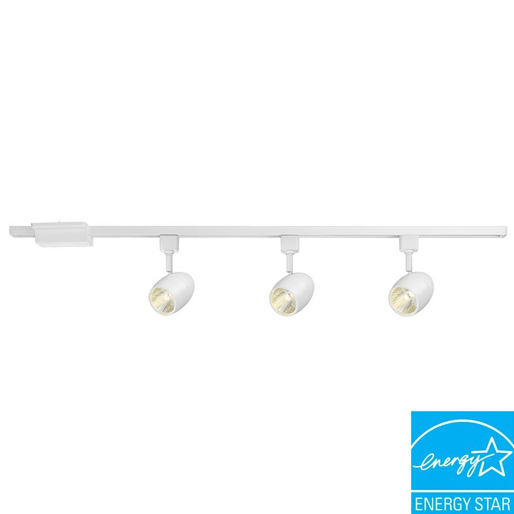 Hampton Bay 39 37 In 3 Light White Dimmable Led Track Lighting Kit