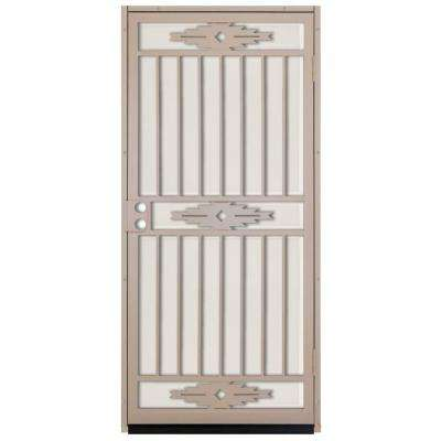 36 in. x 80 in. Pima Tan Surface Mount Outswing Steel Security Door with Almond Perforated Aluminum Screen