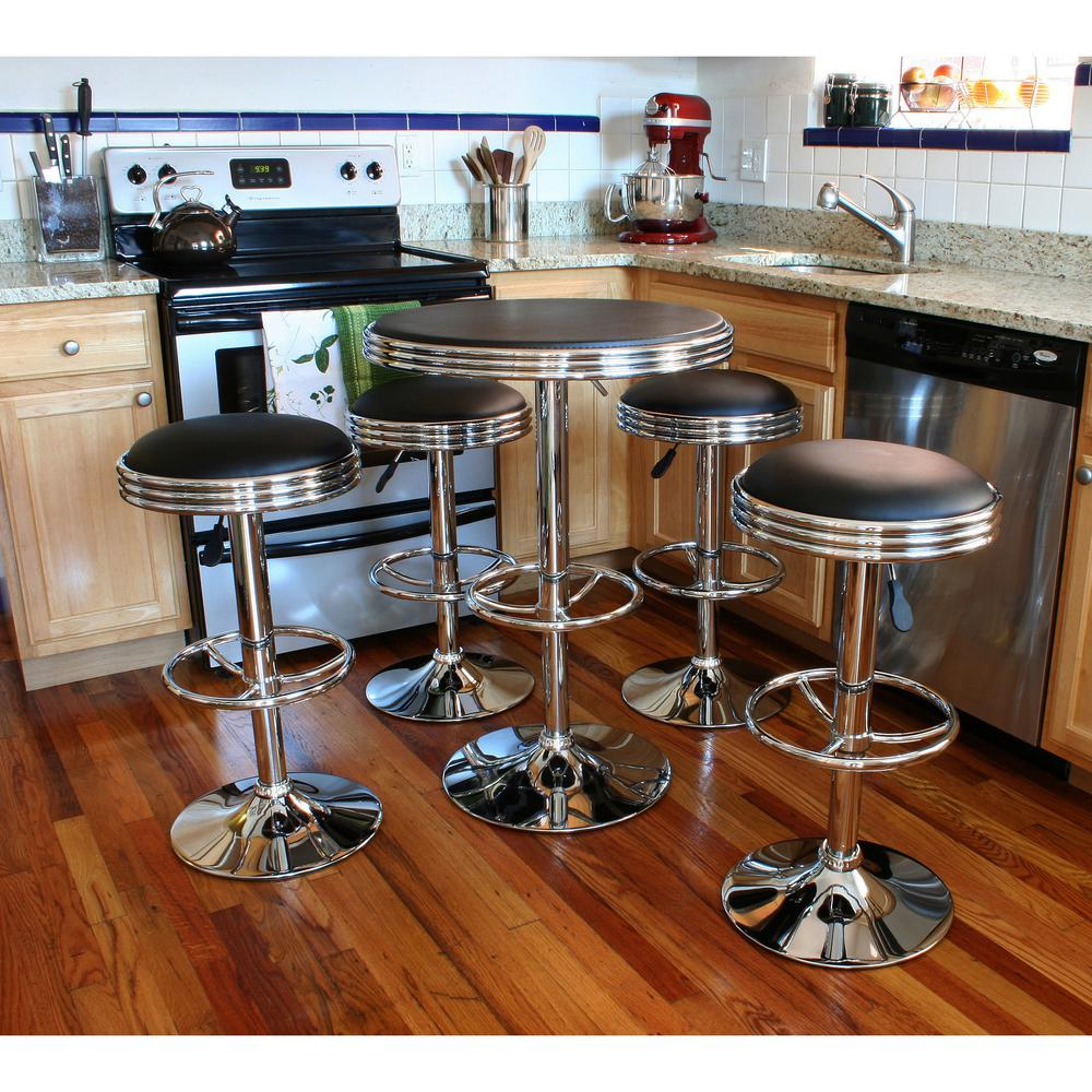Amerihome Vintage Style Soda Shop Adjustable Height Bar Table Set In Black With Adjustable Vinyl Padded Chrome Chairs 5 Piece Bsset6 The Home Depot