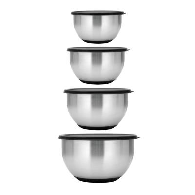 Essentials Geminis 8-Piece 18/10 Stainless Steel Mixing Bowl Set with Lids