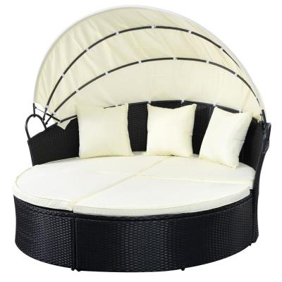 Rattan Round Retractable Outdoor Patio Canopy Daybed with Beige Cushion