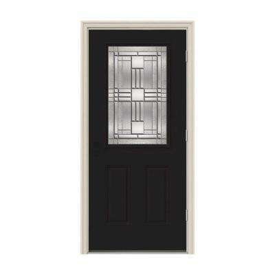 36 in. x 80 in. 1/2 Lite Cordova Black Painted Steel Prehung Left-Hand Outswing Front Door w/Brickmould