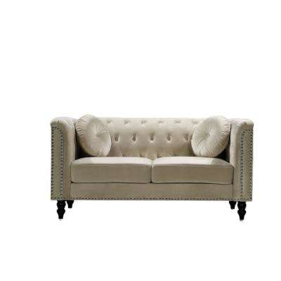 Vivian Cream Classic Velvet Kittleson Nailhead Chesterfield Loveseat