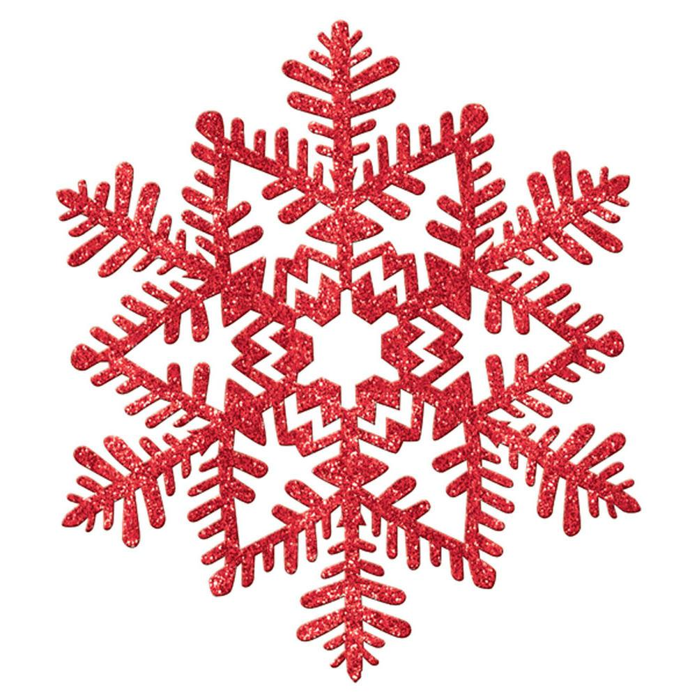 Red Glitter Snowflake Decoration (7-Pack)