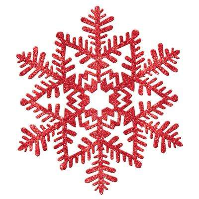 6.5 in. Red Glitter Snowflake Decoration (7-Pack)