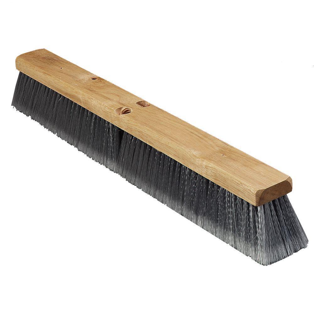 24 in. Flagged Polypropylene Bristled Fine Floor Brush in Gray (12-Case)