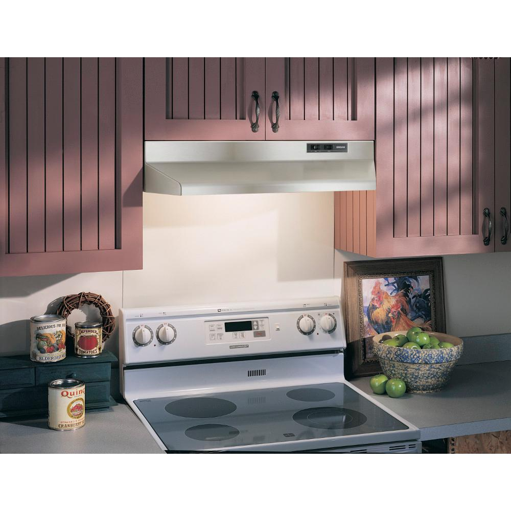 Stainless Steel 190-CFM 42-Inch Broan 424204 ADA Capable Under-Cabinet Range Hood