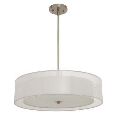 3-Light Brushed Nickel Double Drum Pendant with Outer Organza Shade
