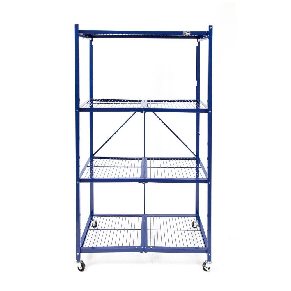 36 in. W x 60 in. H x 20 in D 4-Tier Blue Steel Foldable Shelving Unit