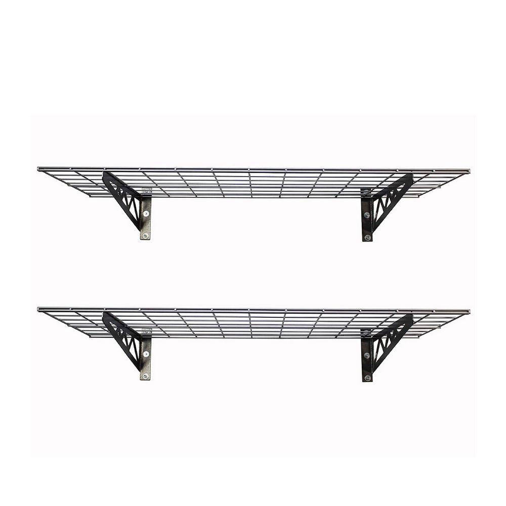 24 in. x 48 in. Gray 8-Bikes Garage Wall Shelf 2-Pack with Bike Tire Hooks