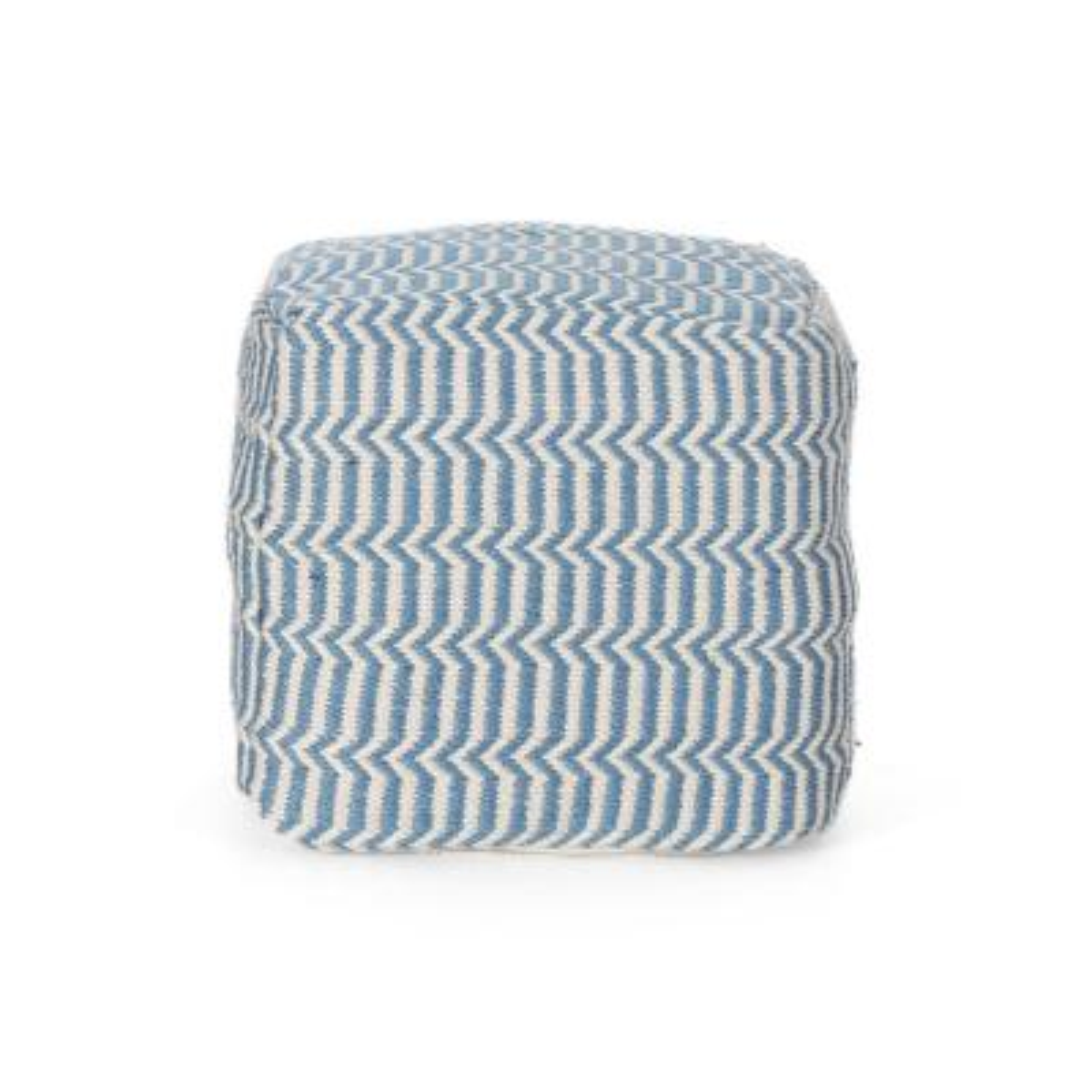 Calliope Blue and White Cube Pouf