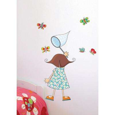"""(41 in x 57 in) Multi-Color """"Little Girl with Butterflies"""" Kids Wall Decal"""