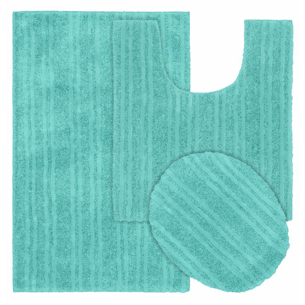Grand Isle Sea Foam 21 in. x 34 in. Striped Nylon 3-Piece Bath Mat Set