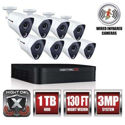 8-Channel 3MP Extreme HD Video Security DVR with 1 TB HDD and 8 x 3MP Wired Infrared Cameras