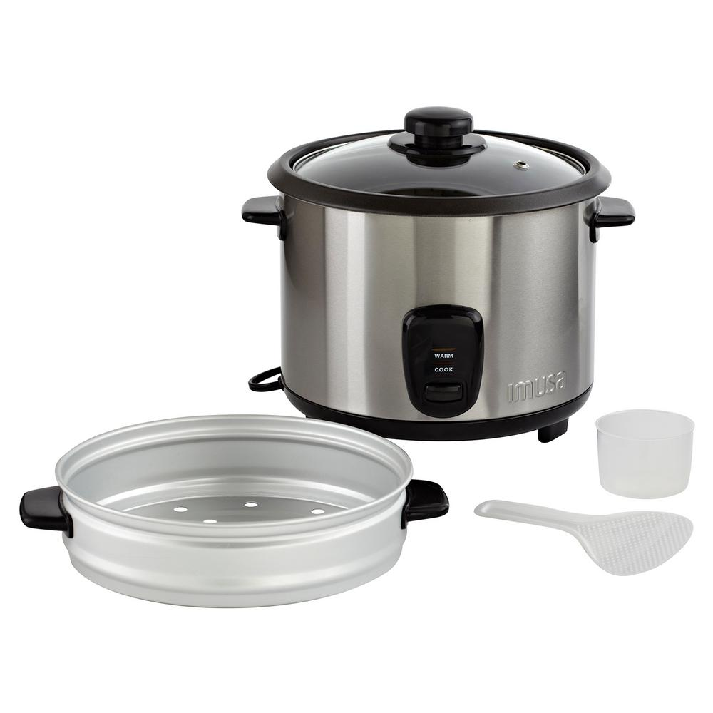 20-Cup Rice Cooker with Steam Tray, Silver The IMUSA Stainless-steel Rice Cooker will make the perfect rice dish at the touch of a switch. The steam tray will allow you to steam your foods while your rice cooks in the pot below. Cleaning is easy with the removable nonstick coated pot, which prevents your rice and other foods from sticking. Make your favorite rice dishes, vegetables, oatmeal and more with your IMUSA Stainless-steel Rice Cooker. Color: Stainless Steel.