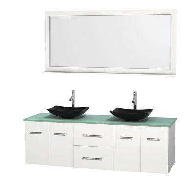 Centra 72 in. Double Vanity in White with Glass Vanity Top in Green, Black Granite Sinks and 70 in. Mirror