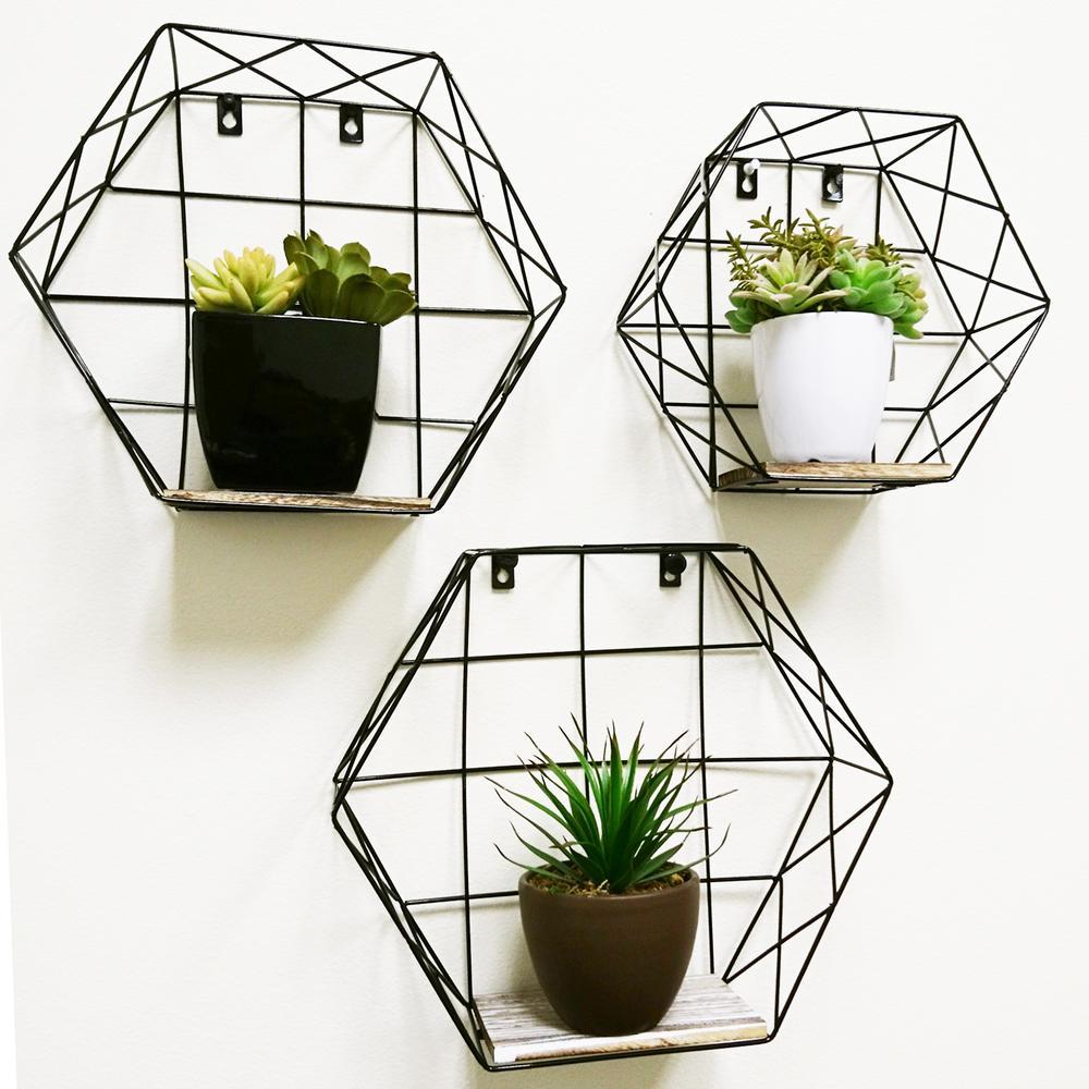 Matte Black Hexagon Wall-Mounted Metal Wire Hanging Storage Shelves (Set of 3)