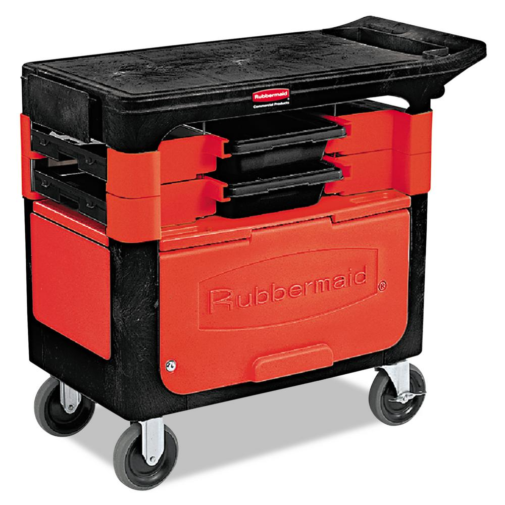 Rubbermaid Commercial Products 19.25 in. Trades 2-Drawer Utility Cart with Locking Cabinet