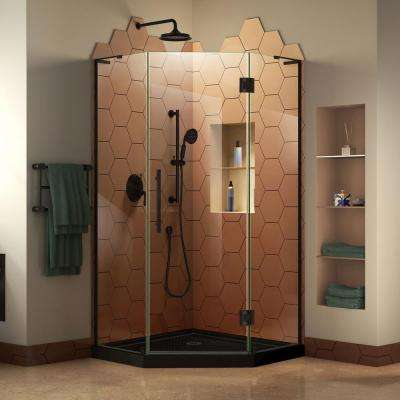 Prism Plus 40 in. x 72 in. D Frameless Corner Hinge Shower Enclosure in Satin Black with Handle and Shower Base