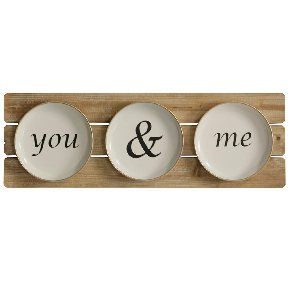 StyleCraft Black You and Me Plates Black and White Natural Wooden Wall Art, Black/White/Natural was $78.99 now $30.32 (62.0% off)