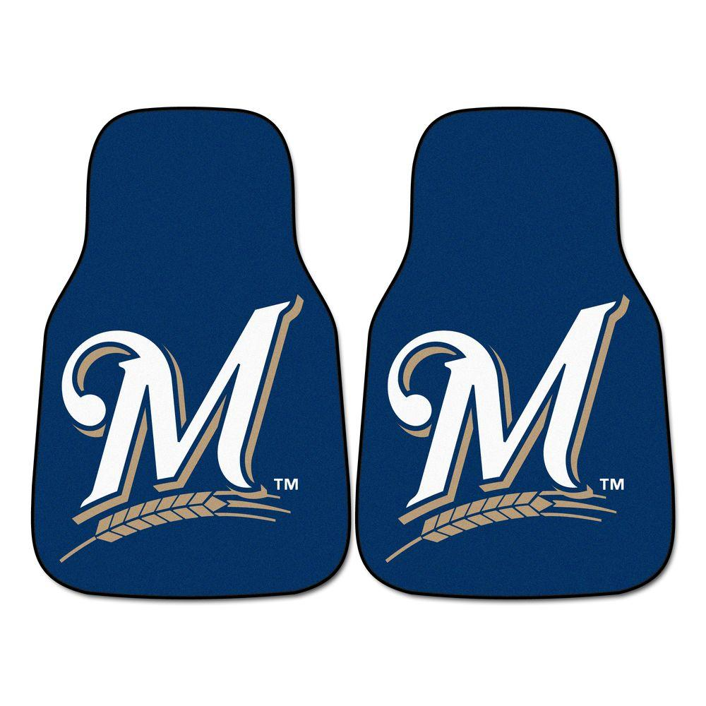 Fanmats Milwaukee Brewers 18 In X 27 In 2 Piece Carpeted
