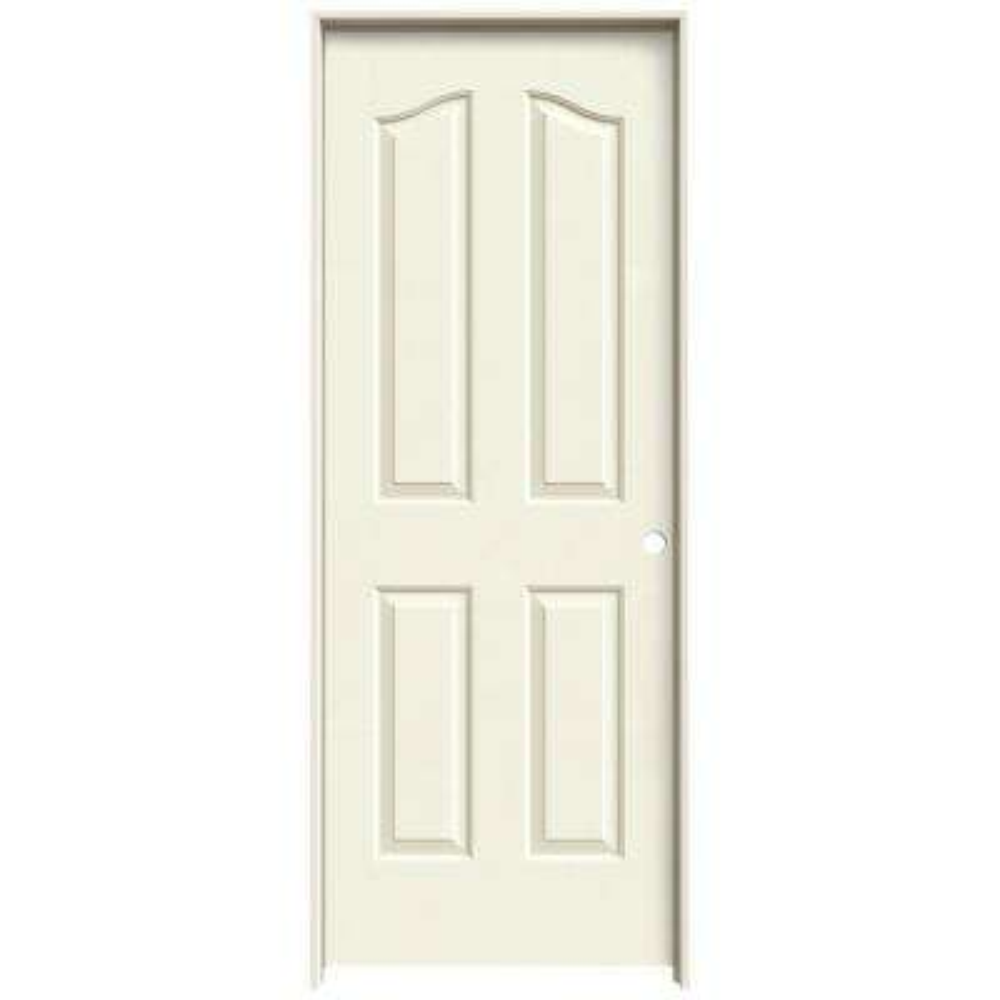 30 in. x 80 in. Provincial Vanilla Painted Left-Hand Smooth Molded Composite MDF Single Prehung Interior Door