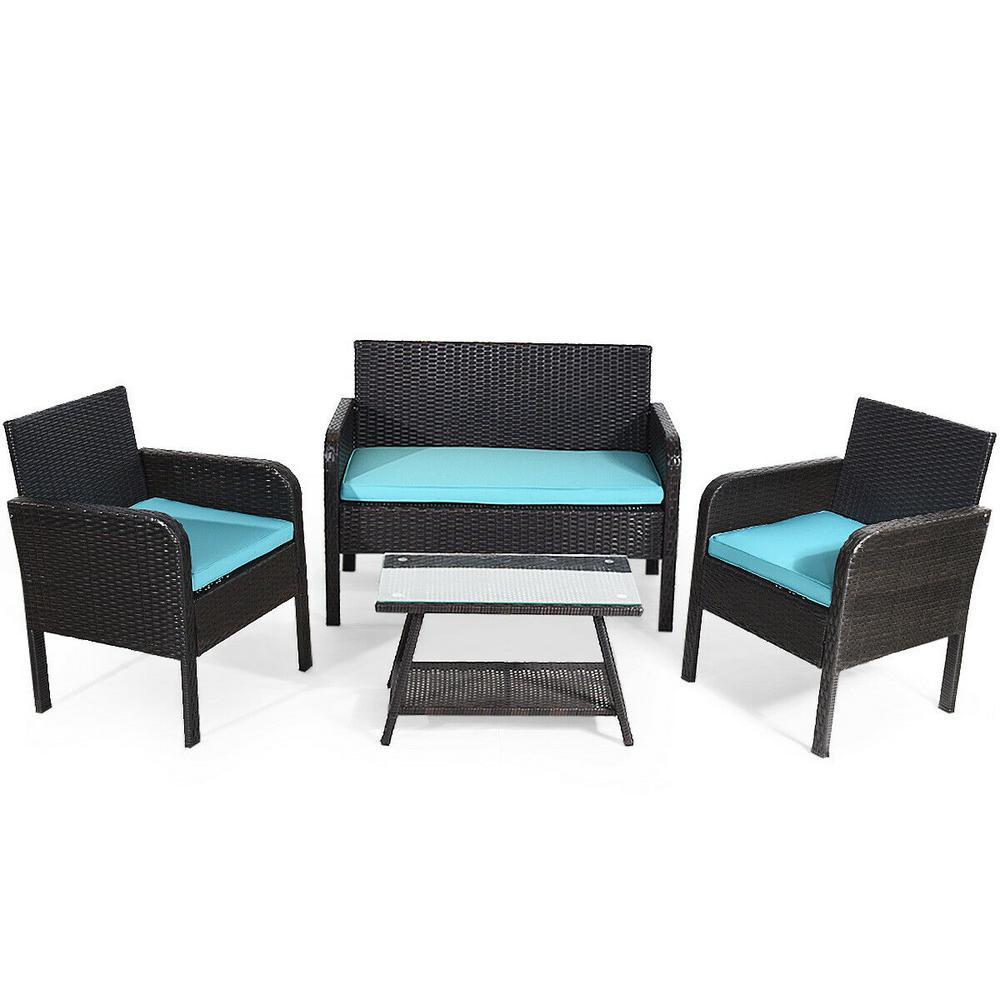 4-Piece PE Rattan Wicker Patio Conversation Set with Blue Cushions Outdoor Furniture Set Table Sofa Garden