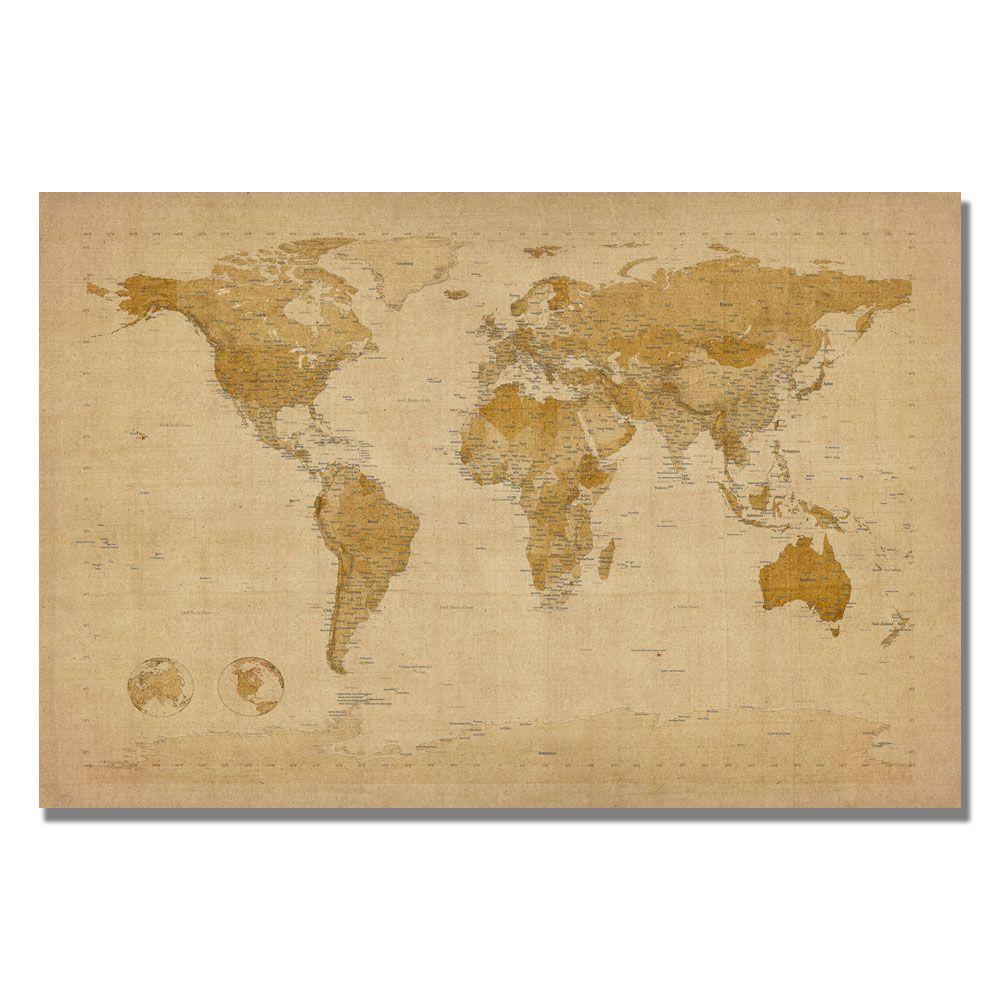 Trademark Fine Art 22 in. x 32 in. Antique World Map Canvas Art ...