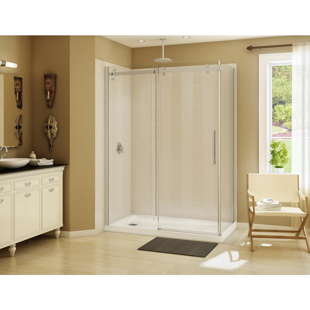 Halo 60 in. x 33-7/8 in. Frameless Corner Sliding Shower Enclosure in Brushed Nickel