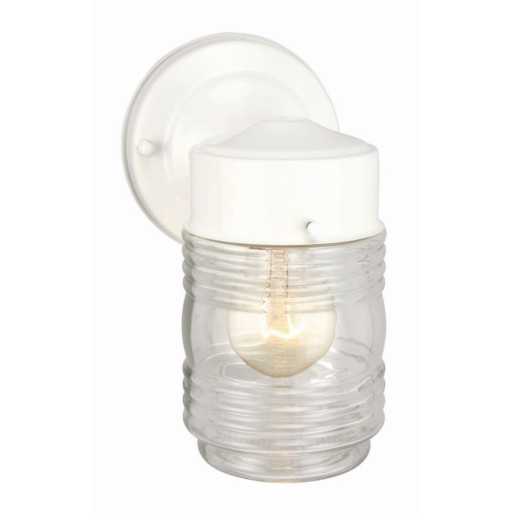 Design house white outdoor wall mount jelly jar wall light 500181 design house white outdoor wall mount jelly jar wall light arubaitofo Image collections