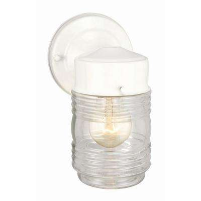 White Outdoor Wall-Mount Jelly Jar Wall Light