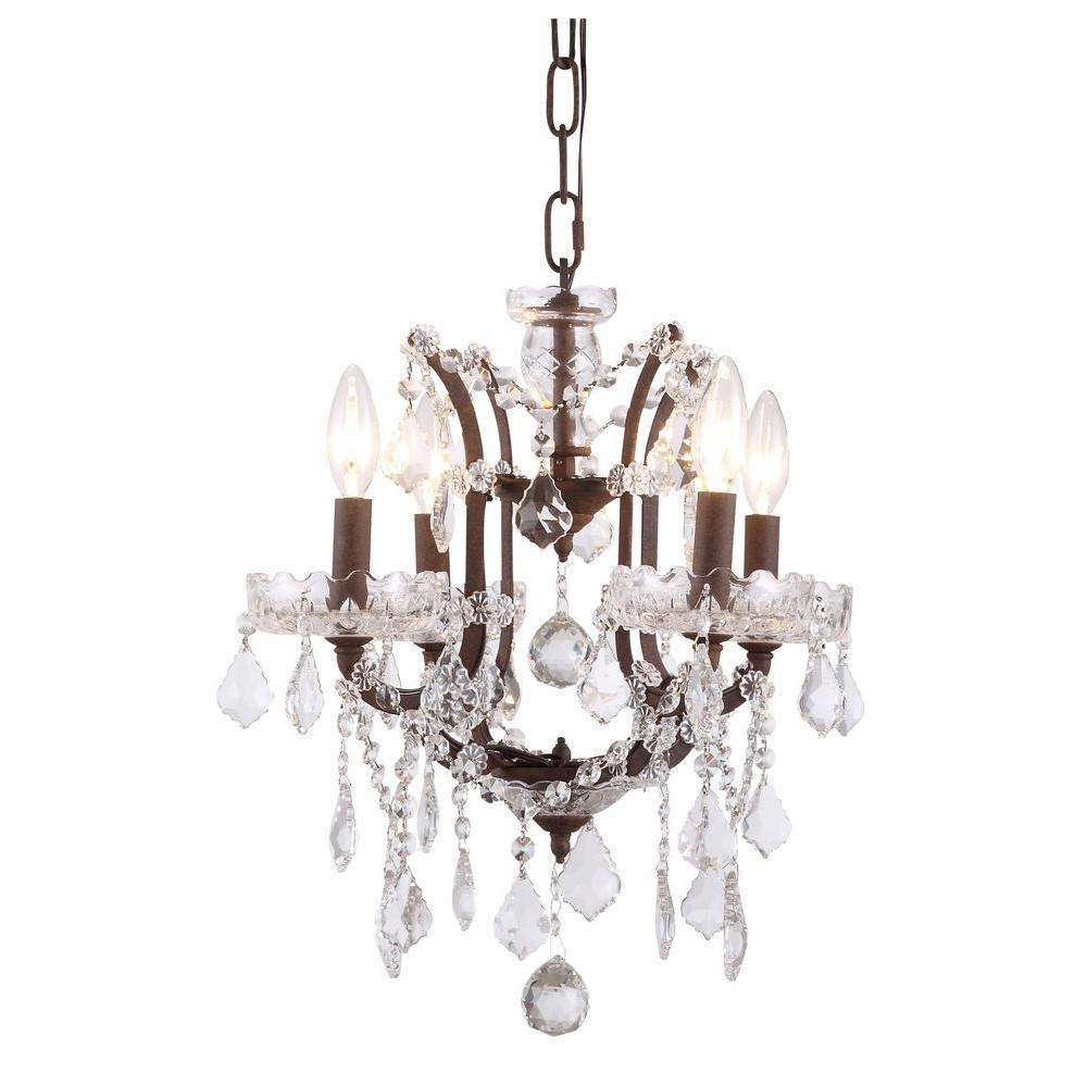 Elena 4-Light Rustic Intent Royal Cut Crystal Clear Pendant