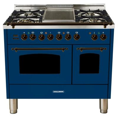 40 in. 4.0 cu. ft. Double Oven Dual Fuel Italian Range True Convection, 5 Burners, Griddle, LP Gas, Bronze Trim in Blue