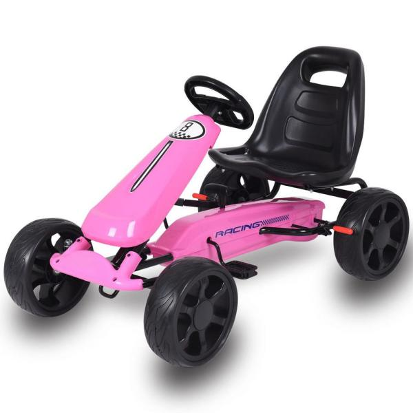 Costway Pink Go Kart Kids Ride On Car Pedal Powered 4 Wheel Racer Toy Stealth Outdoor Cyw50236pi The Home Depot